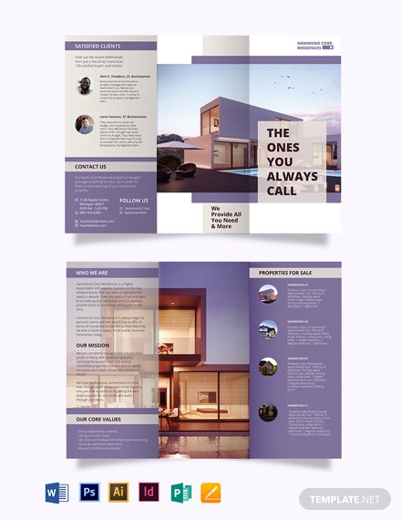 Residential Property Management TriFold Brochure Template