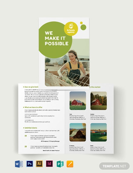farm ranch sale bi fold brochure template