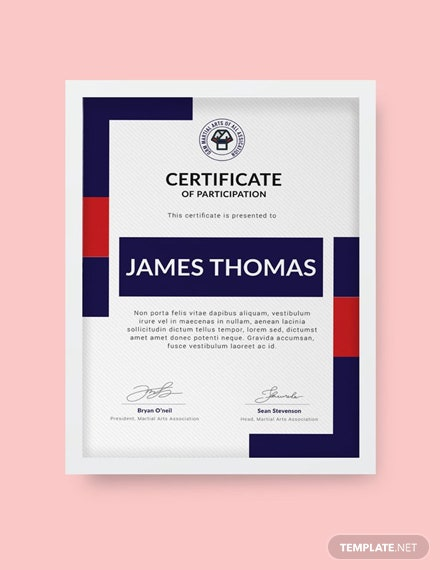 free martial arts award certificate template download 200