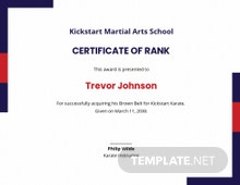 Free Martial Arts Award Certificate Template