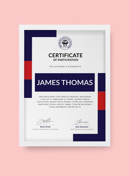 Free Martial Arts Award Certificate Template