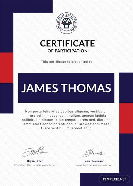Free Martial Arts Award Certificate Template in Adobe ...
