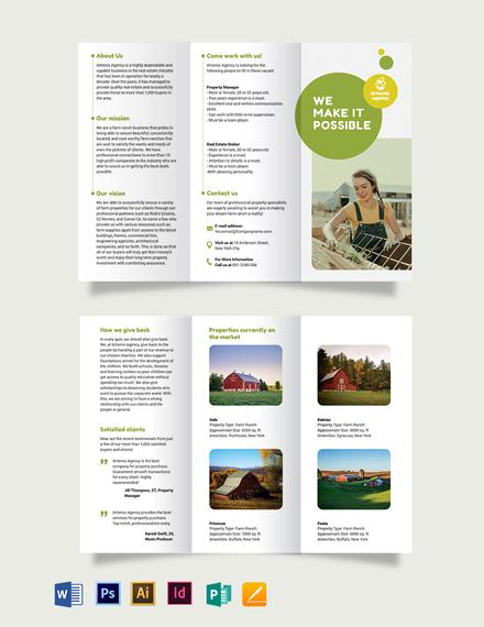 Farm Ranch Sale Tri-Fold Brochure Template