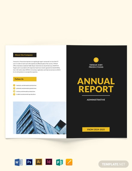 administrative annual report bi fold brochure template