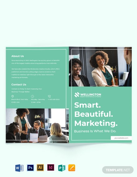 Modern Advertising Company Bi-Fold Brochure Template