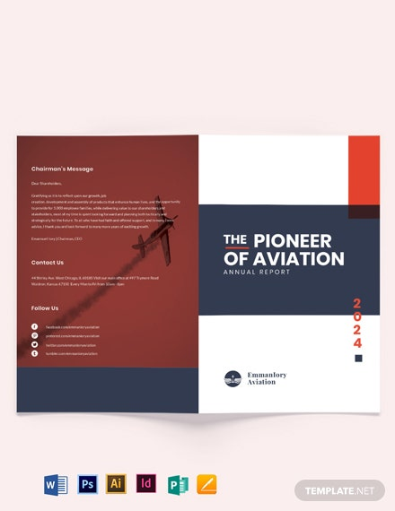 aviation annual report bi fold brochure template