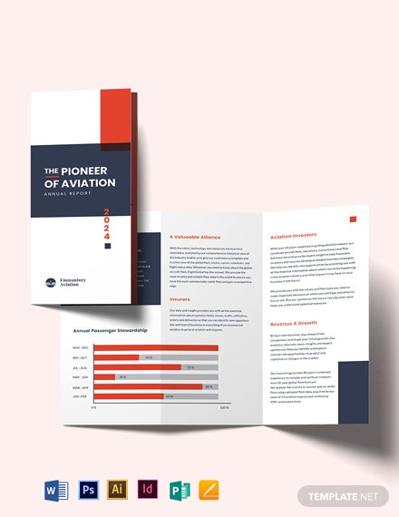 Aviation Annual Report Tri-fold Brochure Template
