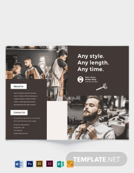 Barbershop A3 Bi-fold Brochure Template