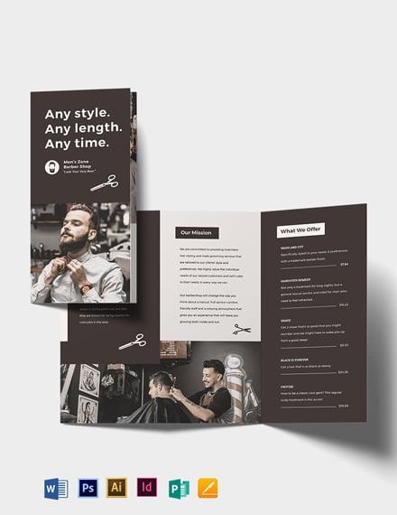 Barbershop A3 Tri-fold Brochure Template