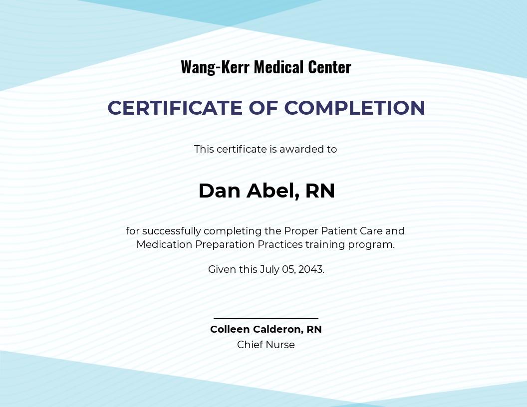 Free Nurse Training Certificate Template