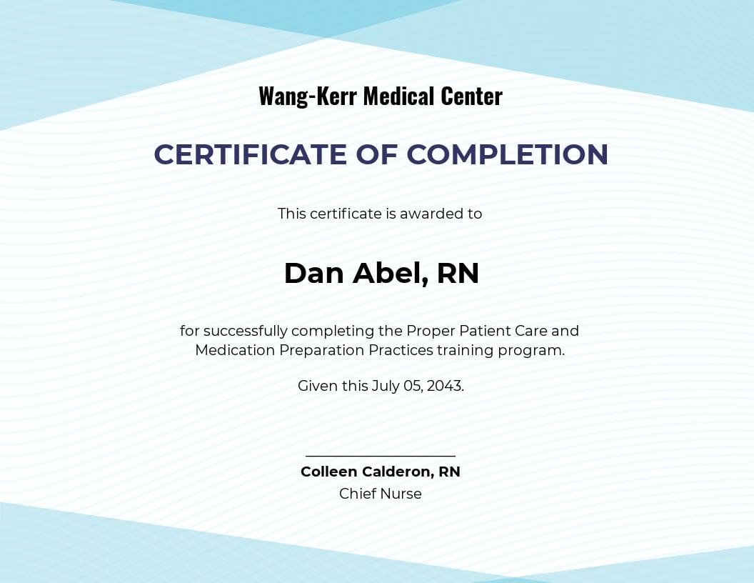 Nurse Training Certificate Template