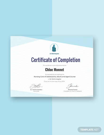 Free Nurse Training Certificate Template