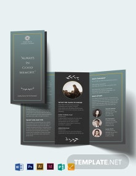 Blank Funeral Plan Tri-Fold Brochure Template