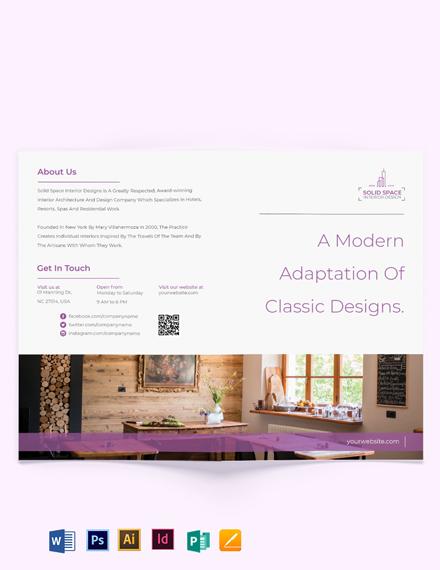 Bohemian Theme Interior Bi-fold Brochure Template