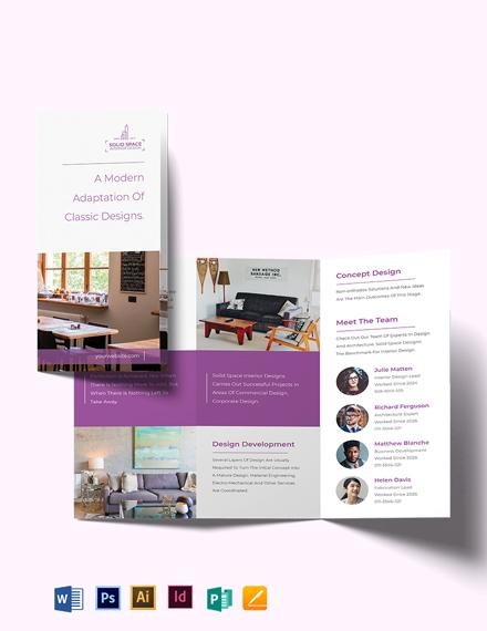 bohemian theme interior tri fold brochure template