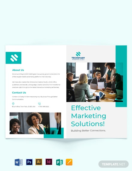 Business Advertising Bi-fold Brochure Template