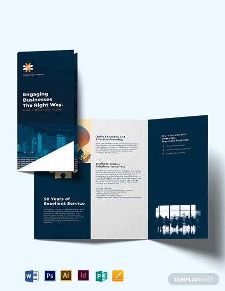 business company profile tri fold brochure template