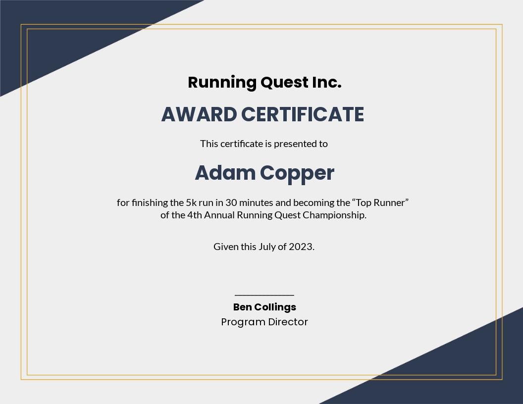Running Award Certificate Template