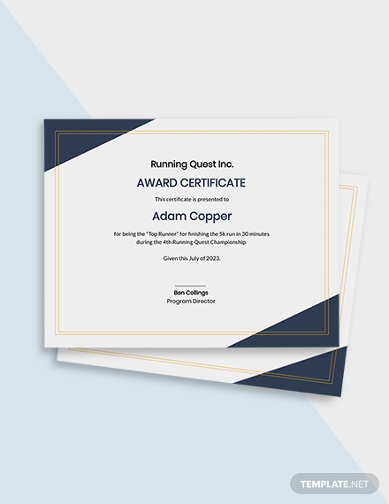 Free Running Award Certificate Template