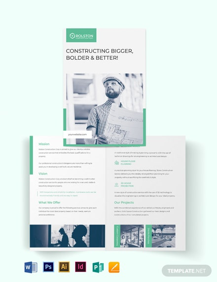 construction frim bi fold brochure template