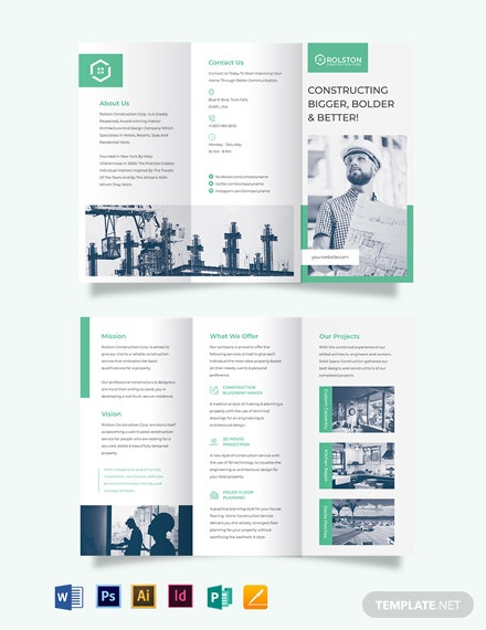 construction frim tri fold brochure template