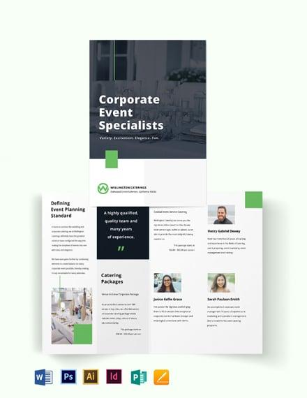 Corporate Event Catering Bi-Fold Brochure Template