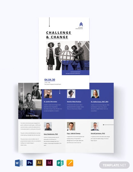 corporate fundraising event bi fold brochure template
