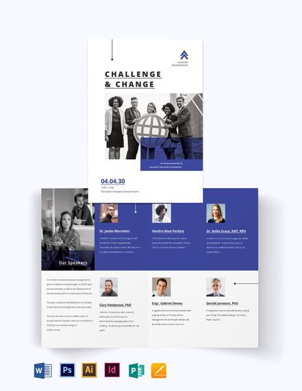 Corporate Fundraising Event Bi-fold Brochure Template