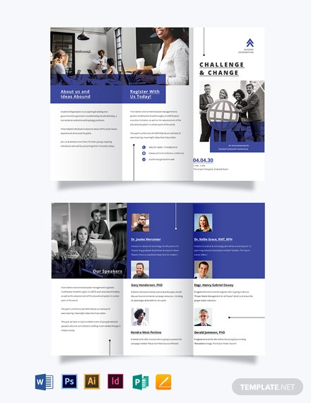 corporate fundraising event tri fold brochure template