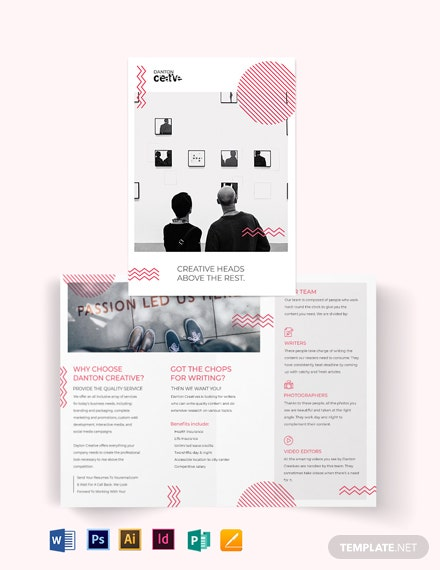 creative recruitment bi fold brochure template