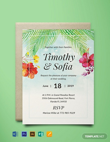 FREE Beach Wedding Invitation Template