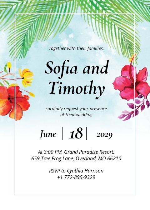 Free Beach Wedding Invitation Template.jpe