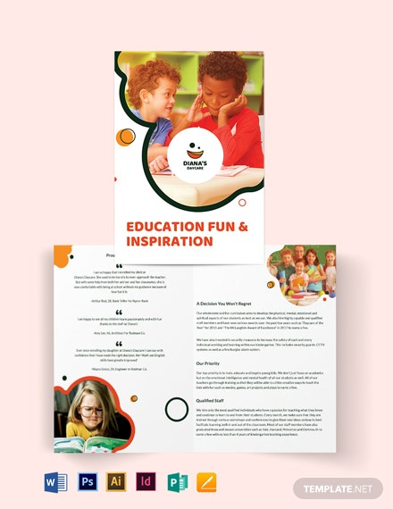 diana s daycare bi fold brochure template