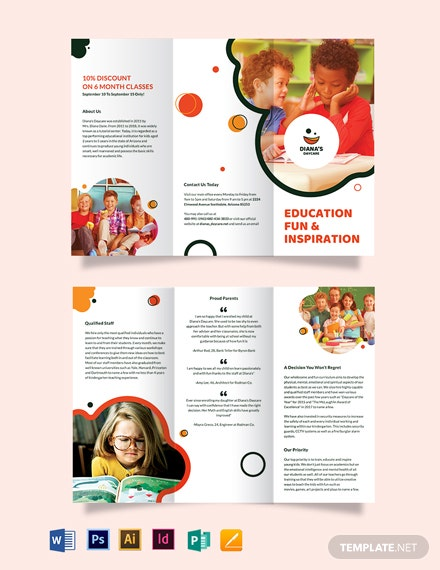 diana s daycare tri fold brochure template
