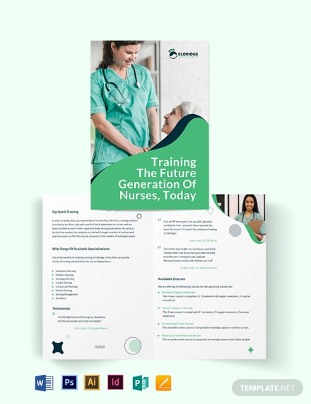 Eldridge School of Nursing Bi-Fold Brochure Template