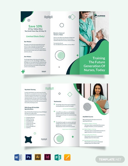 Eldridge School of Nursing Tri-Fold Brochure Template