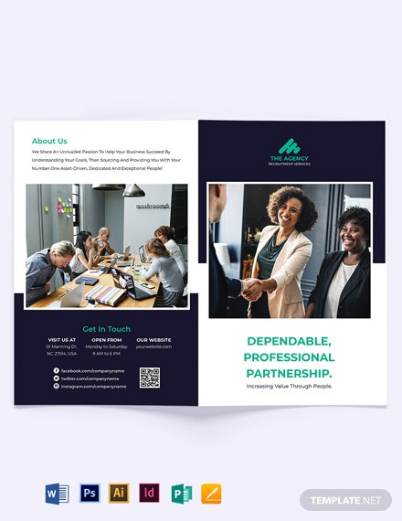 Simple Employment Agency Bi-Fold Brochure Template