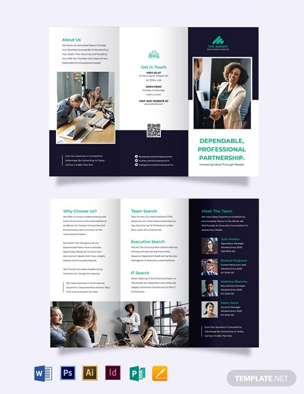 Simple Employment Agency Tri-Fold Brochure Template