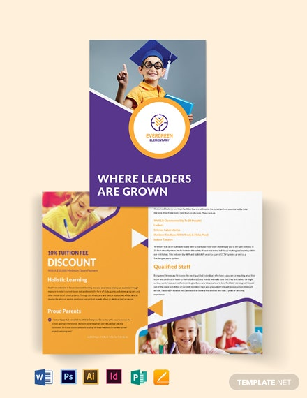 Evergreen Elementary Bi-Fold Brochure Template