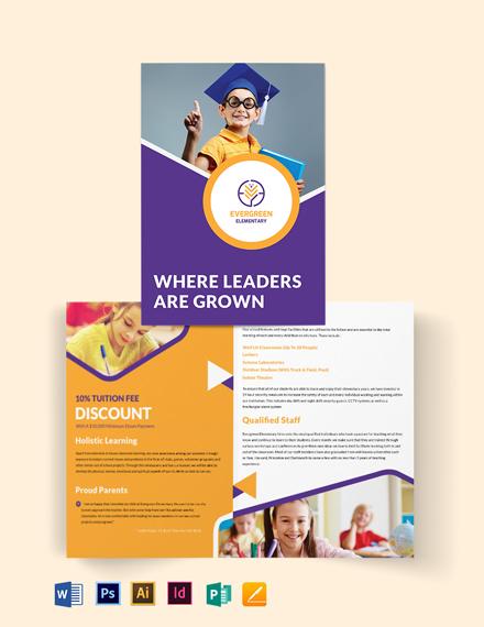 Evergreen Elementary Bi-Fold Brochure Template