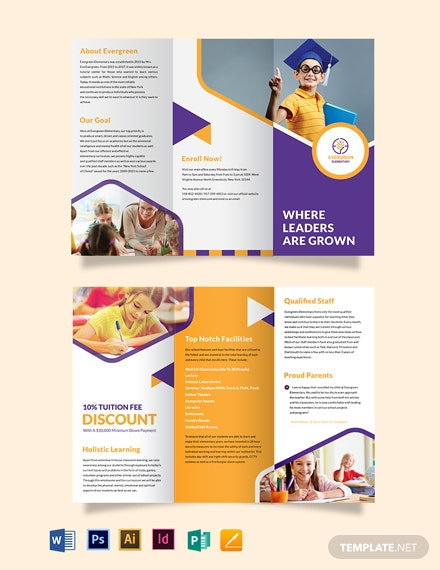 Evergreen Elementary Tri-Fold Brochure Template