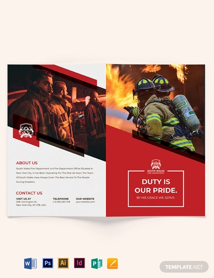 Fire Department Recruitment Bi-Fold Brochure Template