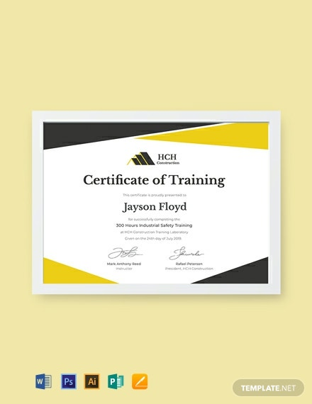 Free Safety Training Certificate Template