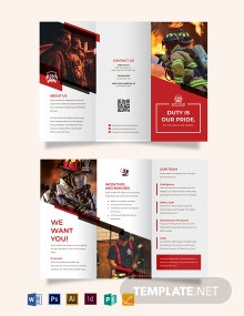 Fire Department Recruitment Tri-Fold Brochure Template