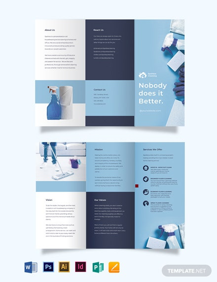 floor cleaning service tri fold brochure template