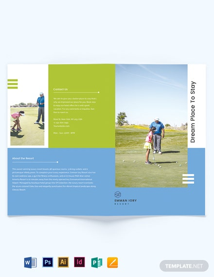 golf resort bi fold brochure template