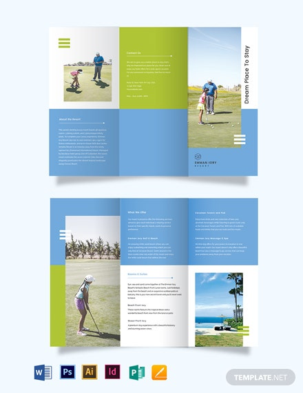 golf resort tri fold brochure template