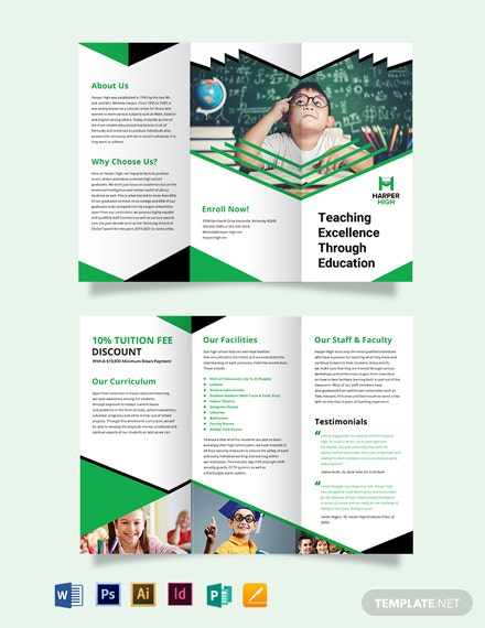 Harper High Tri-Fold Brochure Template