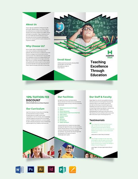 Harper High Tri-Fold Brochure Template