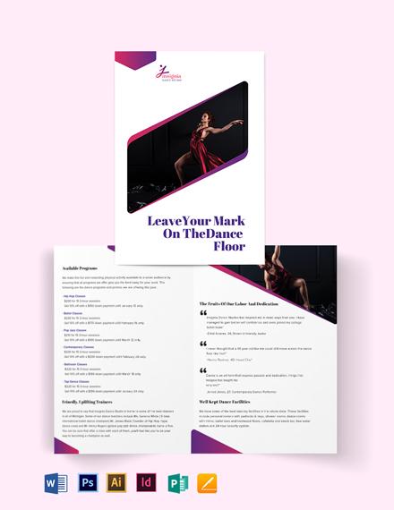 Insignia Dance Studio BiFold Brochure Template